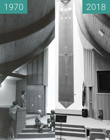Before-and-after picture of Franklin Robbie Chapel Inside between 1970 and 2018-Aug-16