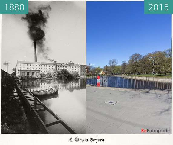 Before-and-after picture of Geyer's Factory between 1880 and 2015