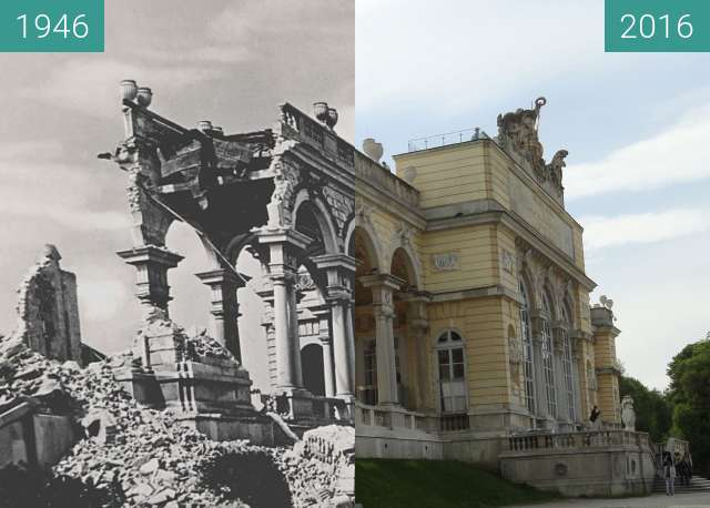 Before-and-after picture of Bombed Gloriette between 1946 and 2016