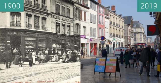 Before-and-after picture of Rue Émelie Zola between 1900 and 2019-Mar-23