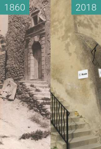 Before-and-after picture of musée saint chamas between 1860 and 2018