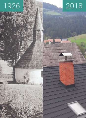 Before-and-after picture of Church in Muta, Slovenia 1926 vs. 2018 between 1926 and 2018-Jul-28