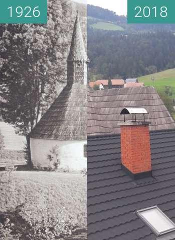 Vorher-Nachher-Bild von Church in Muta, Slovenia 1926 vs. 2018 zwischen 1926 und 28.07.2018