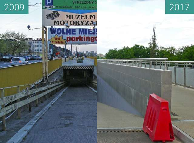 Before-and-after picture of Rondo Kaponiera Poznań. Parking wielopoziomowy. between 2009 and 2017