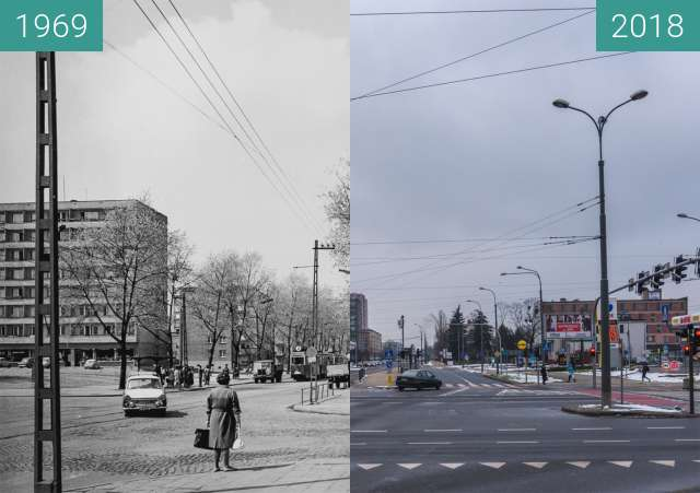 Before-and-after picture of Ulica Dąbrowskiego przy ulicy Żeromskiego between 1969 and 2018-Jan-21
