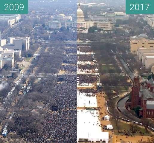 Before-and-after picture of Amtseinführung des amerikanischen Präsidenten between 2009-Jan-20 and 2017-Jan-20