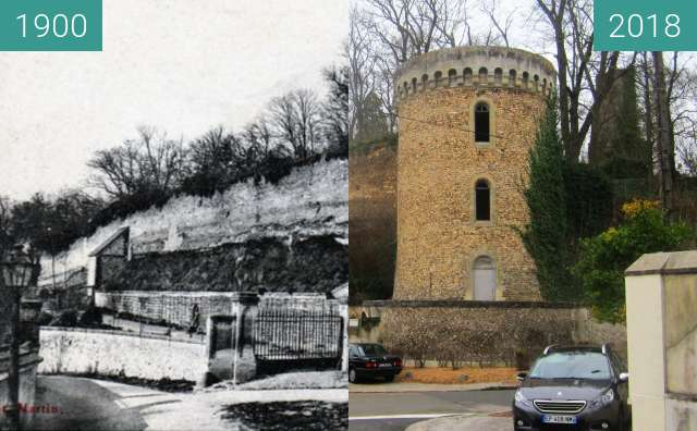 Before-and-after picture of Château de Dreux between 1900 and 2018-Mar-25