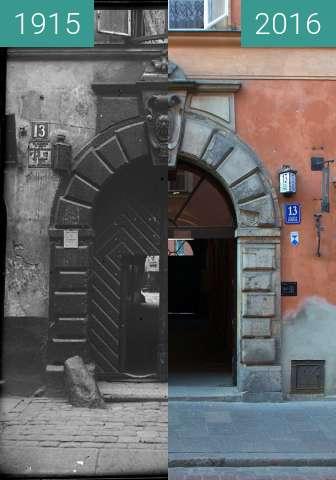 Vorher-Nachher-Bild von Piwna 13 in Warsaw zwischen 1915 und 2016