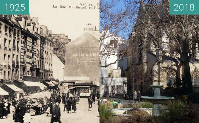 Before-and-after picture of Place St. Medard (1925) between 1925 and 2018-Feb-02