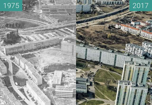 Before-and-after picture of Osiedle Lecha between 1975 and 2017
