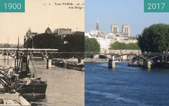 Before-and-after picture of Seine view from Pont du Carousel between 1900 and 2017-Jun-18