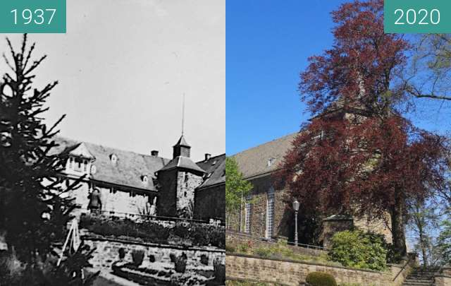 Before-and-after picture of Schloss Hückeswagen aus dem Rosengarten heraus between 1937 and 2020-Apr-22