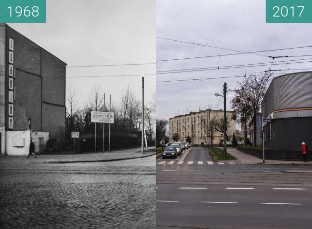 Before-and-after picture of Ulica Palacza od Głogowskiej between 1968 and 2017