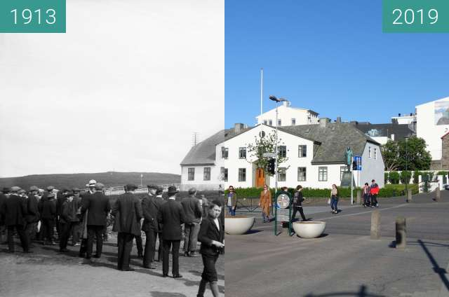 Before-and-after picture of Cabinet Building Reykjavik between 1913-Jun-12 and 2019-May-27