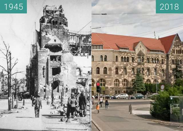 Before-and-after picture of Aleja Niepodległości, Ziemstwo Kredytowe between 1945 and 2018