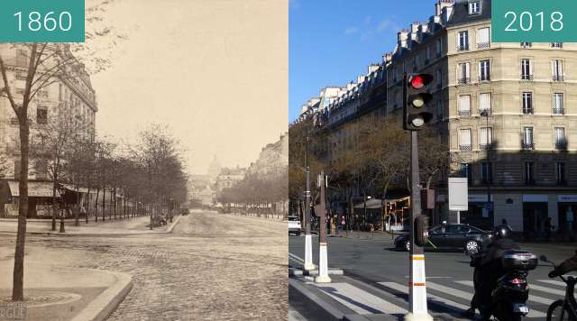 Before-and-after picture of Avenue des Gobelins between 1860 and 2018-Feb-07