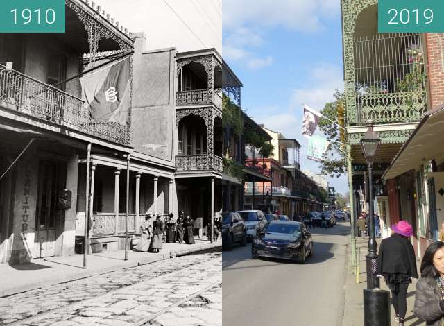 Before-and-after picture of Royal Street between 1910 and 2019-Mar-04