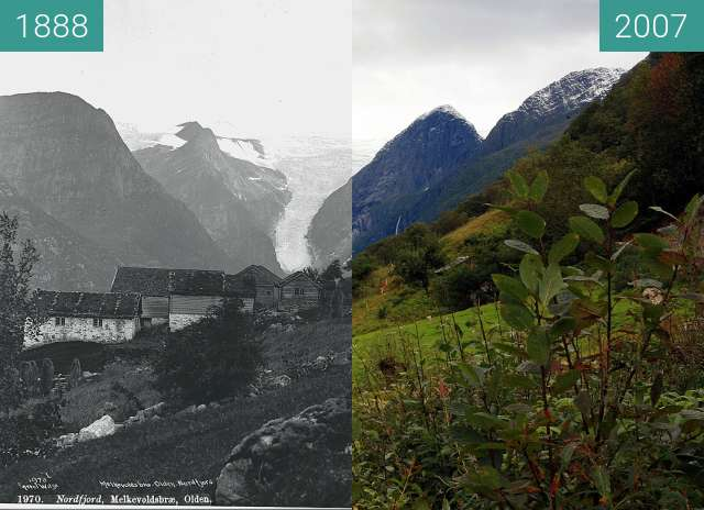 Before-and-after picture of Melkevollbreen Glacier between 1888 and 2007