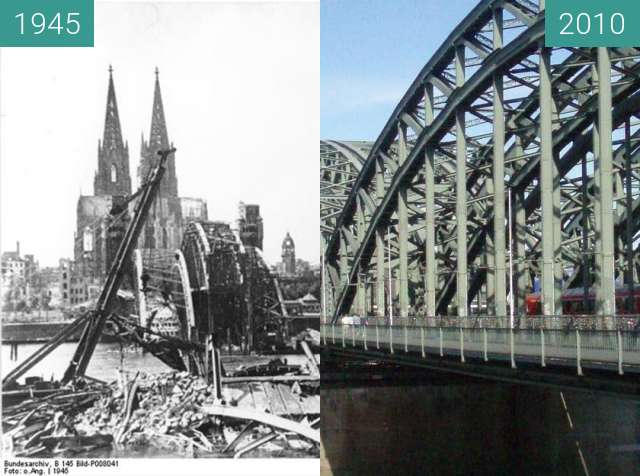 Before-and-after picture of Köln - Hohenzollernbrücke 1945/2010 between 1945 and 2010