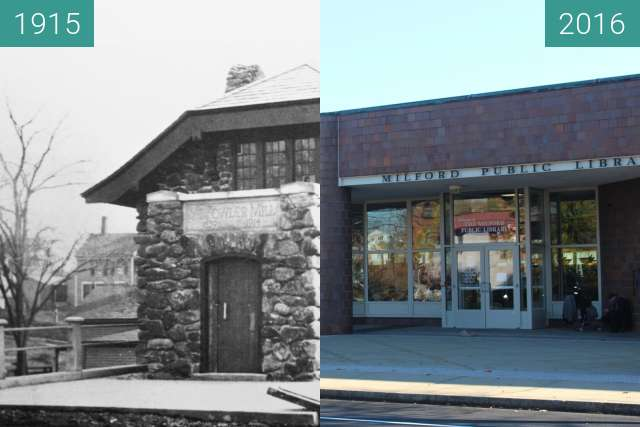 Before-and-after picture of American Legion Building between 1915 and 2016