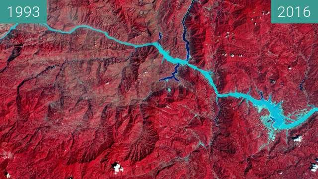 Vorher-Nachher-Bild von Die Drei-Schluchten-Talsperre am Jangtse zwischen 24.09.1993 und 22.08.2016