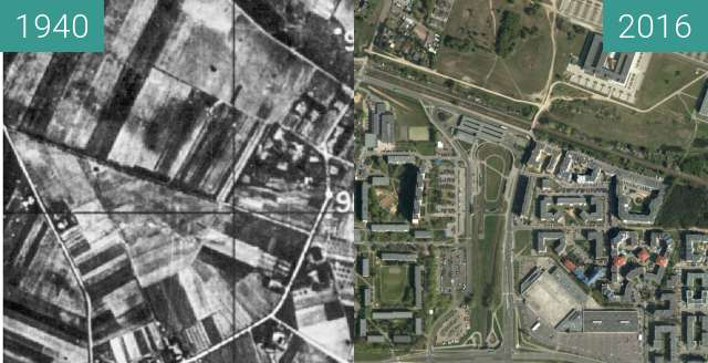 Before-and-after picture of Os. Jana III Sobieskiego between 1940 and 2016