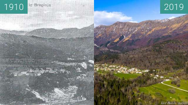 Before-and-after picture of Breginj 1910 and today between 1910 and 2019