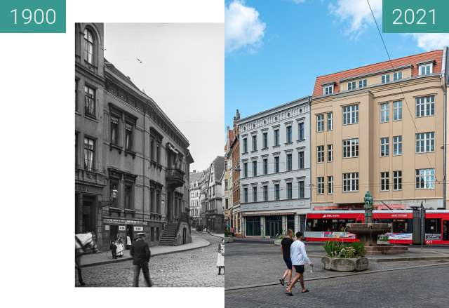 Before-and-after picture of Alter Markt mit Eselsbrunnen between 1900 and 2021-Jul-28