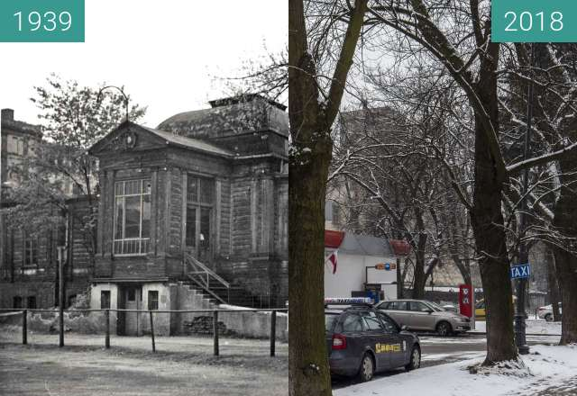 Before-and-after picture of Lodz Cyclists Club House between 1939 and 2018-Feb-13