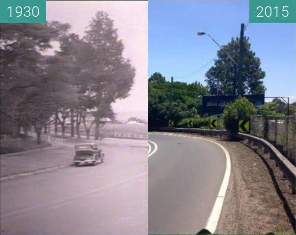 Before-and-after picture of Victoria Bridge, Nepean River between 1930 and 2015