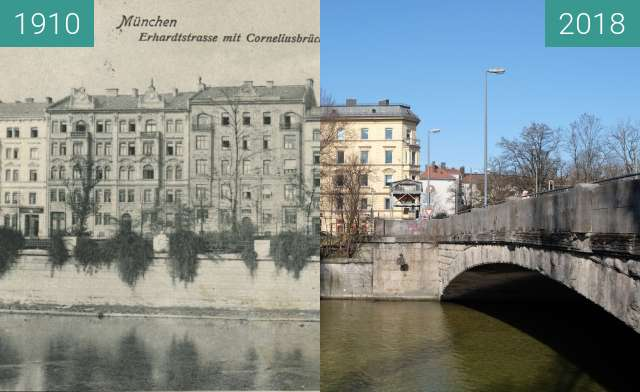 Before-and-after picture of München: Erhardtstr. mit Corneliusbrücke between 1910 and 2018-Mar-04