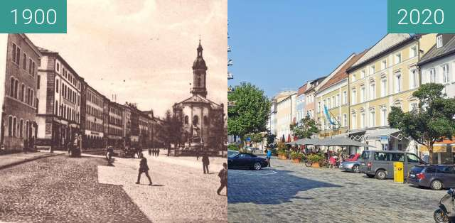 Before-and-after picture of Stadtplatz Traunstein between 1900 and 2020-Sep-13