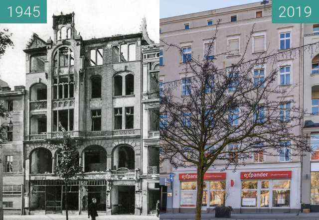 Before-and-after picture of Plac Wolności nr 6, 7 between 1945 and 2019-Feb-16