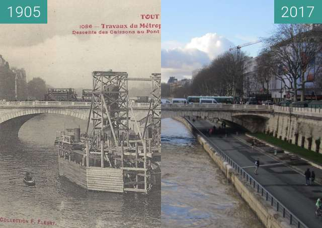 Before-and-after picture of Pont au Change between 1905 and 2017-Dec-16