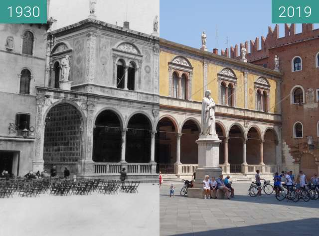Before-and-after picture of Piazza dei Signori between 1930 and 2019-Jun-26