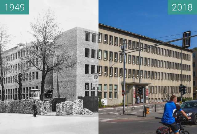 Before-and-after picture of Ulica Libelta between 1949 and 2018