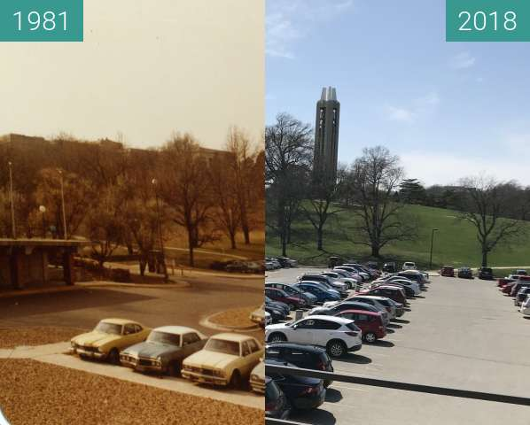 Before-and-after picture of Campanile View between 1981 and 2018-Apr-19