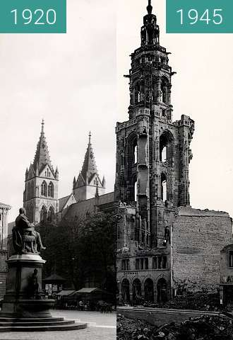 Before-and-after picture of Heilbronn Cathedral between 1920 and 1945