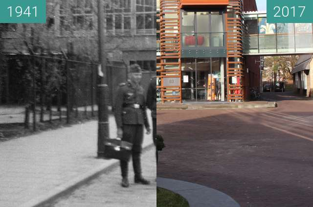 Before-and-after picture of German soldiers in Alkmaar between 1941 and 2017-Feb-21