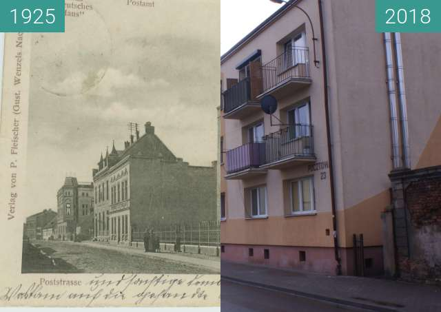 Before-and-after picture of Synagogue on Pocztowa street between 1925 and 02/2018
