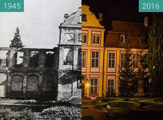 Before-and-after picture of Abbot's Palace in Oliwa between 1945 and 2016