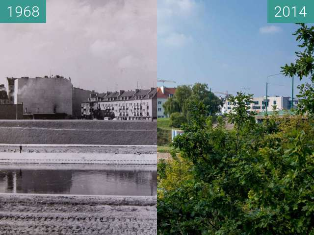 Before-and-after picture of Chwaliszewo between 1968-Aug-06 and 2014-Aug-06