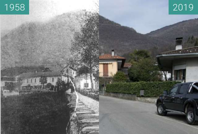 Before-and-after picture of Dumenza: Strada per Trezzino between 1958 and 04/2019