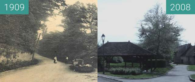 Before-and-after picture of le lavoir d'en haut between 1909 and 2008-Apr-26