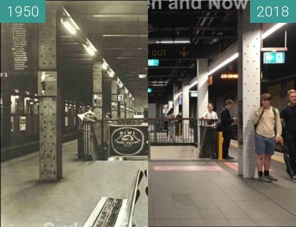 Before-and-after picture of Wynyard Station between 1950 and 2018