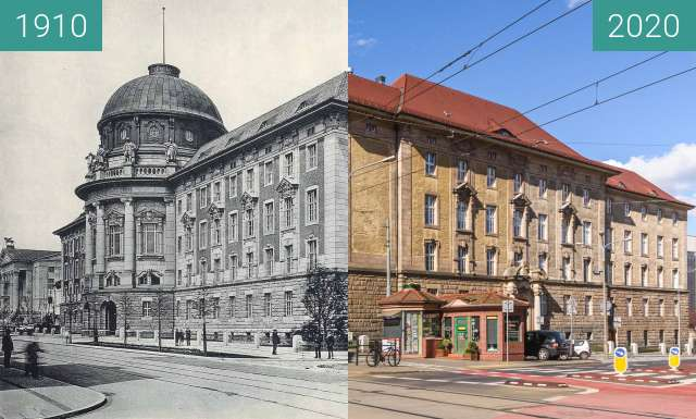 Before-and-after picture of Ulica Fredry between 1910 and 2020-Mar-14
