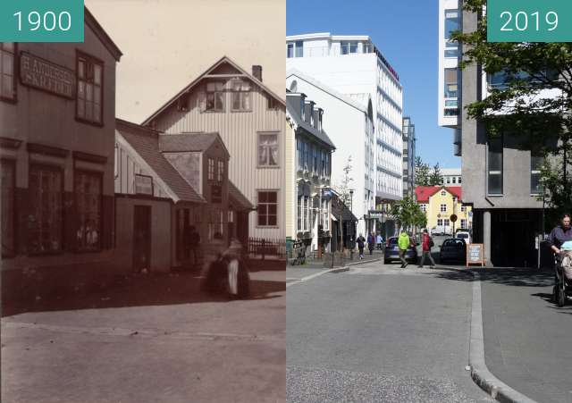 Before-and-after picture of Aðalstræti between 1900 and 2019-May-28
