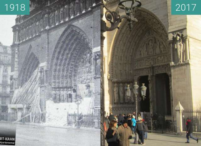 Before-and-after picture of Notre-Dame between 1918-Dec-09 and 2017-Dec-16