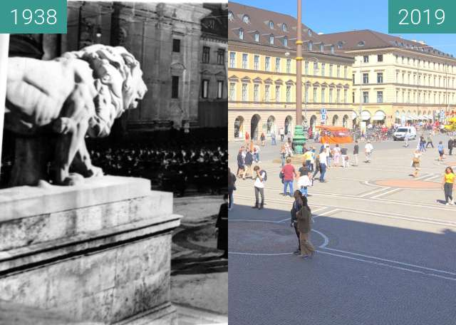 Before-and-after picture of Odeonsplatz: damals Soldaten, heute Touristen between 1938-Nov-10 and 2019-Sep-04