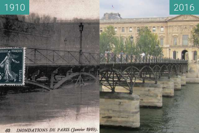 Before-and-after picture of Pont des Arts (Great Flood) between 1910 and 2016-Sep-22